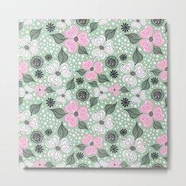 Floral Dream, Floral Pattern Pink Green Metal Print