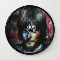 daryl dixon Wall Clocks featuring Daryl Dixon by Jhaiku