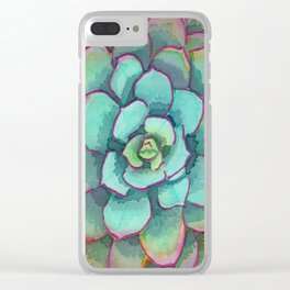Sunset Succulent Clear iPhone Case