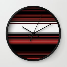 Red, Black and White with Gray Stripes Wall Clock