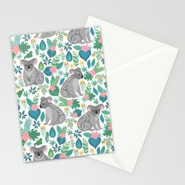 Koalas and Flowers Stationery Cards