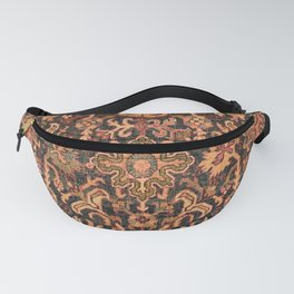 Floral Medallion I // 18th Century Colorful Blue Lime Green Pink Sapphire Plum Burlap Brown Pattern Fanny Pack