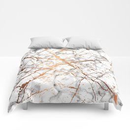 Marble Texture and Gold Splatter 039 Comforters