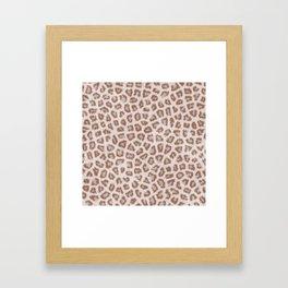 Abstract hipster brown white cheetah animal print Framed Art Print