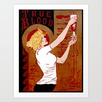true blood Art Prints featuring True Blood Nouveau by Nana Leonti