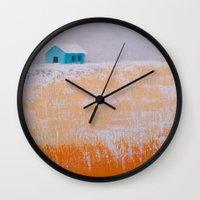 home alone Wall Clocks featuring ALONE by Olga Krokhicheva