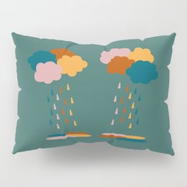 Colorful clouds and rain drops pattern Pillow Sham