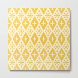 Mid Century Modern Atomic Triangle Pattern 711 Yellow on Yellow Metal Print