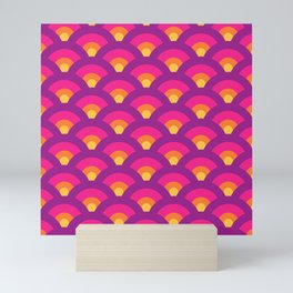 Retro Rainbow Seigaiha Waves (Purple, Pink, Orange, Yellow) Mini Art Print