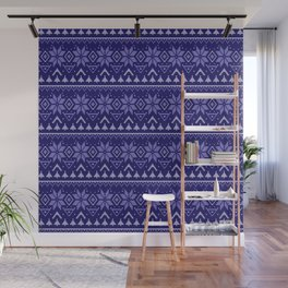 Knitted Christmas pattern in blue Wall Mural