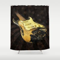 50s Shower Curtains featuring My AMERICAN RELIC STRATOCASTER® Custom Shop by k_design