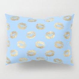 Glam Gold Kiss Lips Imprint Pattern Pillow Sham