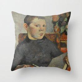 "Paul Gauguin - Clovis, portrait of the artist's son ""Le Liseur"" (1886) Throw Pillow"