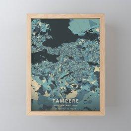 Tampere, Finland - Cream Blue Framed Mini Art Print