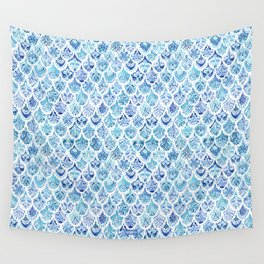 PAISLEY MERMAID Watercolor Scale Pattern Wall Tapestry