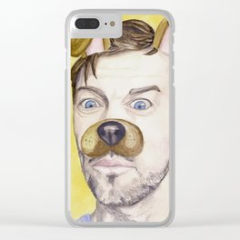 Misha Collins, watercolor painting Clear iPhone Case
