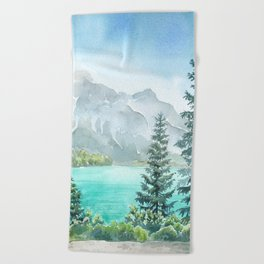 Emerald Lake Watercolor Beach Towel