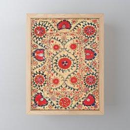 Samarkand Suzani Bokhara Uzbekistan Floral Embroidery Print Framed Mini Art Print