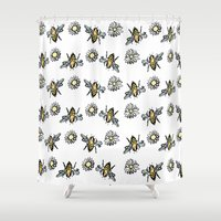 bees Shower Curtains featuring Bees by rapunzette