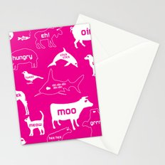 Animal Noises in Pink Stationery Cards