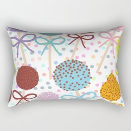 seamless pattern Colorful Sweet Cake pops set with bow on white polka dot background Rectangular Pillow