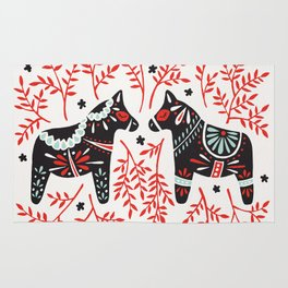 Swedish Dala Horses – Red and Black Palette Rug