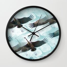 Abstract Whooping Cranes Wall Clock