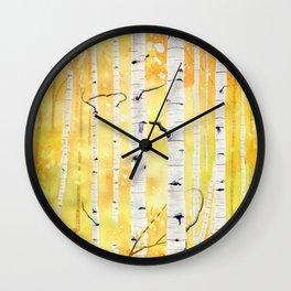 Autumn Birch Wall Clock