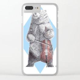 Cellist bear Clear iPhone Case
