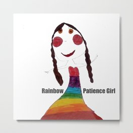 Rainbow Patience Girl Kids Metal Print