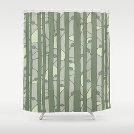 Into The Woods green Shower Curtain