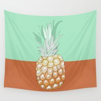 hawaii Wall Tapestries featuring Hawaii pineapple by uzualsunday