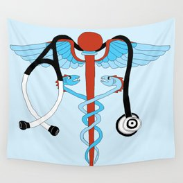 medical caduceus and stethoscope Wall Tapestry
