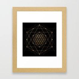 Flower of Life Black and Gold Framed Art Print