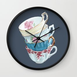 Lean on Me in Navy | Teacup Painting Wall Art Wall Clock