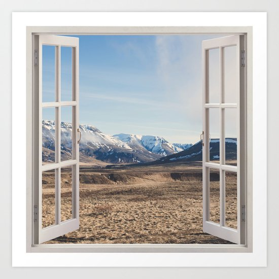 Hills through the window Art Print