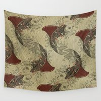ying yang Wall Tapestries featuring ying and yang shark fin goldfish pattern by Vin Zzep