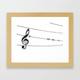 Natures Choir Birds on Wire Music Note A611W Framed Art Print