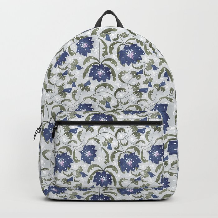 Retro . Floral pattern in blue tones . Backpack