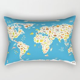 Map of the World with animals. Beautiful colorful vector illustration. Rectangular Pillow