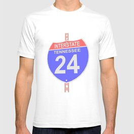 Interstate highway 24 road sign in Tennessee T-shirt