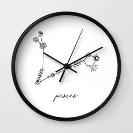 Pisces Floral Zodiac Constellation Wall Clock