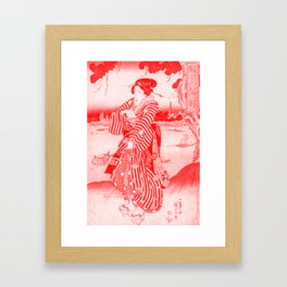 Geisha Standing on the Bank of the Sumida River - Vintage Japanese Art Print Framed Art Print