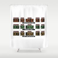 delorean Shower Curtains featuring Back to the future Delorean board by Komrod