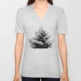 Minimal fir tree portrait Unisex V-Neck