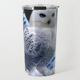 Blue-eyed Snow Owl Travel Mug