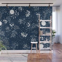 Blue and White Seamless Flower and Leaves Pattern Wall Mural