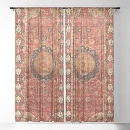 Seley 16th Century Antique Persian Carpet Print Sheer Curtain