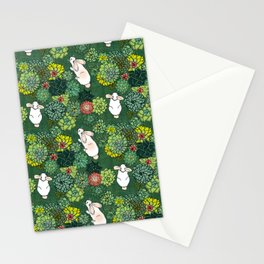 Rabbits in a Succulent Garden Stationery Cards