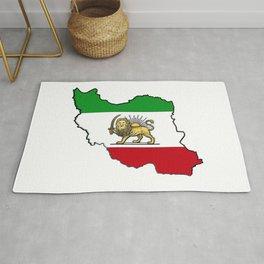 Iran Map with Iranian Flag Rug
